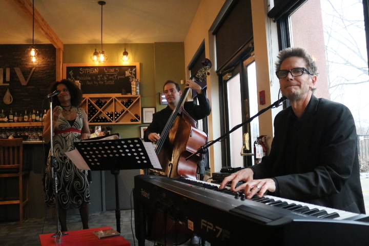 Juliet Dunn Trio performs on the show's opening day on Sunday, Jan. 12. Vocals provided by Juliet Dunn, Peter Shea is at the piano and Rob McBride plays bass. (Dariya Baiguzhiyeva/Niagara Now