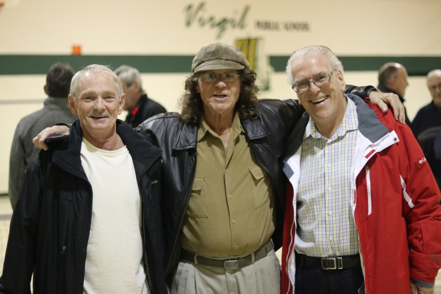 Club members Ed Blundell, Maurice Lauzier and Albert Coote at the open house held by NOTL Pickleball Club last Sunday. (Dariya Baiguzhiyeva/Niagara Now)