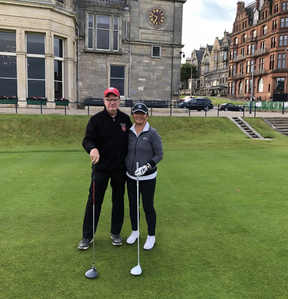 Kevin MacLean and May Chang on the first tee of the Old Course. (Photo by caddy Bruce Gordon)