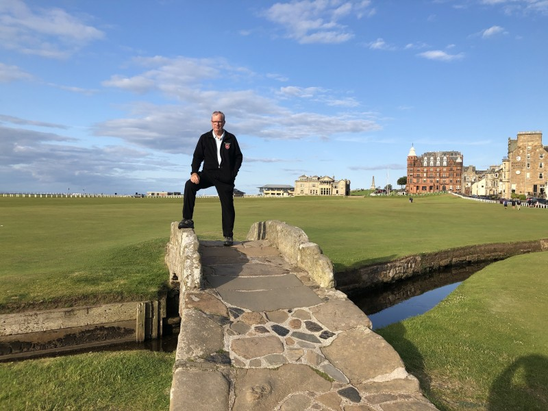 On the famous Swilcan Bridge, the afternoon before playing the Old Course. It was a Sunday so the course is closed to golfers and is used as a public park. (May Chang/Niagara Now)
