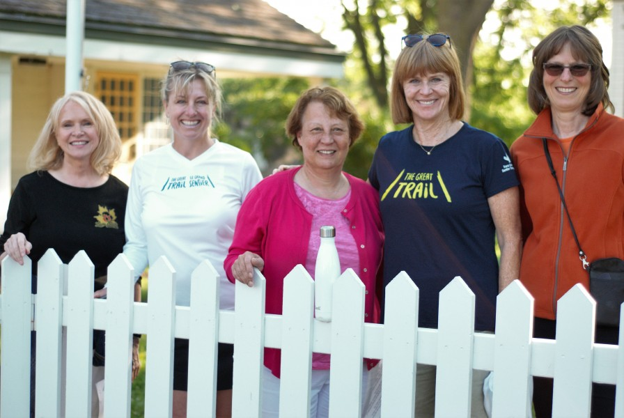 Caroline McCormick, Simone Hicken, Betty Disero, Valerie Pringle and Katherine Bambrick before Saturday morning's walk. (Brittany Carter/Niagara Now)